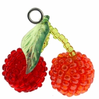 Glass Seed Beads Cherries Pendant