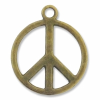Antiqued Brass Peace 17mm Charm (1PC)