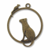 Antiqued Brass Cat-n-Mouse 31mm Pendant (1PC)