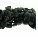 Black Onyx 12x12mm Pillow Beads 16 inch Strand