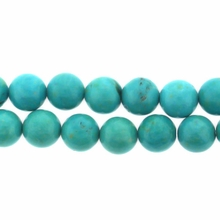 Turquoise (Chalk) 6mm Round Blue/Green Beads 16 inch Strand
