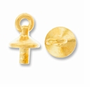 Gold Plated Basic Bead Cap Post w/Loop