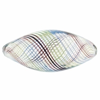 Hand Blown 12x25mm Oval Clear with Brown/Blue/Green Swirl (1PC)