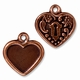 Antiqued Copper Victorian Heart Frame Charm
