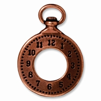 Antiqued Copper Clock Charm