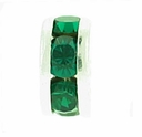 5mm Emerald Crystal Rhinestone Silver Plated Rondelles (4PK)