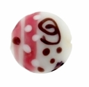 14mm White,  Pink and Brown Design Disc Lampwork Beads (5PK)