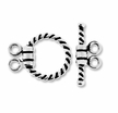 Bali Style Twisted 2-Strand Sterling Silver Toggle