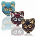 Czech Pressed 13mm Cat Face Beads