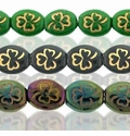 Czech Pressed 9/10mm Clover Oval Beads