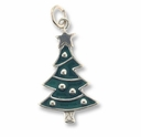 Enamel Christmas Tree Sterling Silver Charm