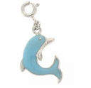Enameled Lt. Blue Dolphin Sterling Silver Charm
