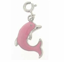 Enameled Pink Dolphin Sterling Silver Charm