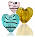 Silver Foil Glass Heart Beads