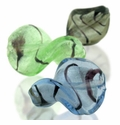 Silver Foil Glass Leaf Beads