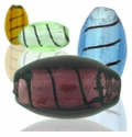 Silver Foil Glass Oval Beads