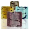 Silver Foil Glass Square Beads