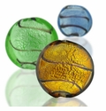 Silver Foil Glass Disc Beads
