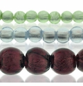 Silver Foil Glass Round Beads