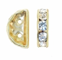 Crystal Rhinestone 2 Hole Bridge 12x7mm Gold (5PK)