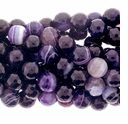 8mm Purple Stripe Faceted Agate Beads 16 Inch Strand