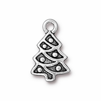Antique Silver Christmas Tree Charm