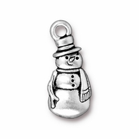 Antique Silver Frosty Charm