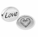 Love with Heart in Heart Symbol Sterling Silver Message Bead