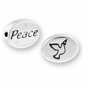 Peace with Dove Symbol Sterling Silver Message Bead