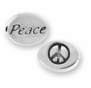 Peace with Peace Symbol Sterling Silver Message Bead