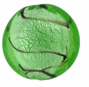Silver Foil Glass Lt. Green Disc Beads 25mm (1PC)