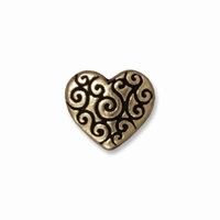 Brass Oxide Heart Scroll Bead