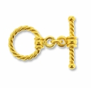 16mm Gold Vermeil Twisted Toggle Clasp