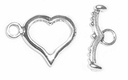 Sterling Silver Heart Toggle #16