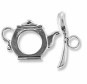 Tea Pot Sterling Silver Toggle Clasp