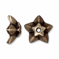 Brass Oxide Silver 8mm Star Bead Cap