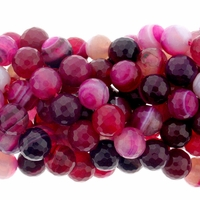 Red Stripe Faceted 8mm Agate Beads 16 Inch Strand