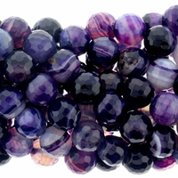 10mm Purple Stripe Faceted Agate Beads 16 Inch Strand