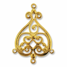 Gold Plated 3 Way Heart Dangler Filigree (1PC)