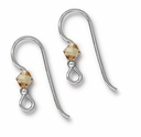 Sterling Silver 2mm Lt. Colorado Topaz Crystal Earwire (1PR)