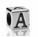Silver Finish Pewter 5.5mm Alphabet Bead Letter A
