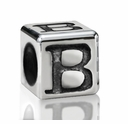 Silver Finish Pewter 5.5mm Alphabet Bead Letter B