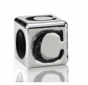 Silver Finish Pewter 5.5mm Alphabet Bead Letter C
