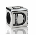 Silver Finish Pewter 5.5mm Alphabet Bead Letter D