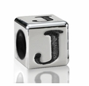 Silver Finish Pewter 5.5mm Alphabet Bead Letter J