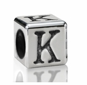 Silver Finish Pewter 5.5mm Alphabet Bead Letter K