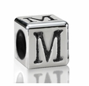 Silver Finish Pewter 5.5mm Alphabet Bead Letter M