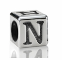 Silver Finish Pewter 5.5mm Alphabet Bead Letter N