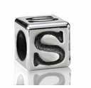 Silver Finish Pewter 5.5mm Alphabet Bead Letter S