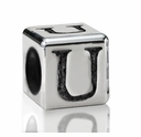 Silver Finish Pewter 5.5mm Alphabet Bead Letter U